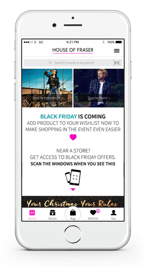 House of Fraser Black Friday wishlist app homescreen