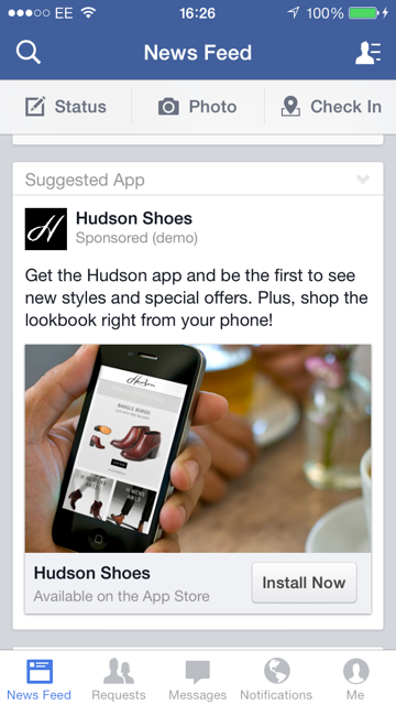 Facebook Mobile App install ads   Poq - Rocket fuel for retail