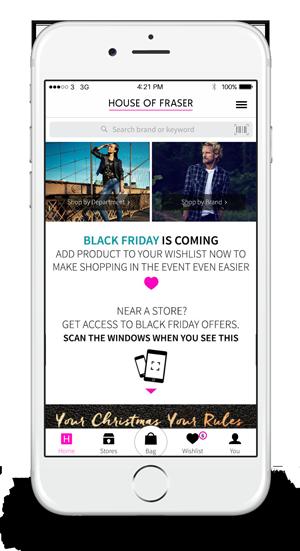 House of Fraser Black Friday wishlist app homescreen