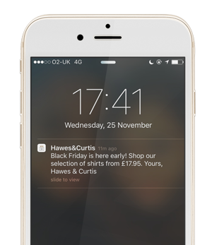 Hawes and Curtis early Black Friday push notification
