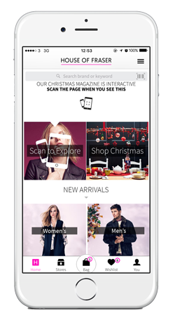 House of Fraser iOS app homescreen with 'Scan to Explore'
