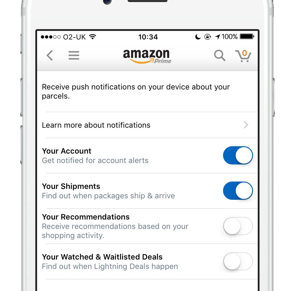 Amazon app notification settings