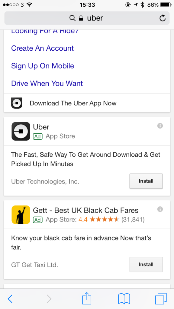 Google search app ad