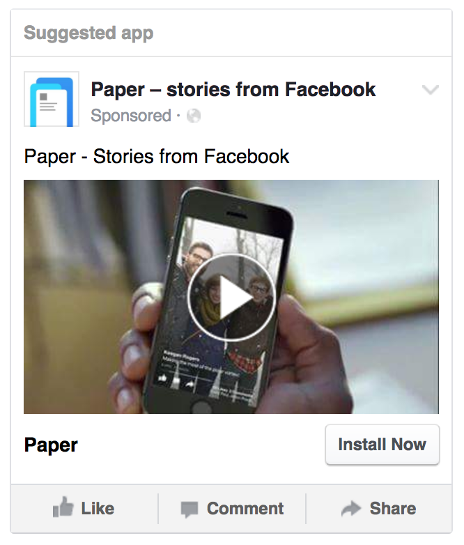 Facebook app advertising example
