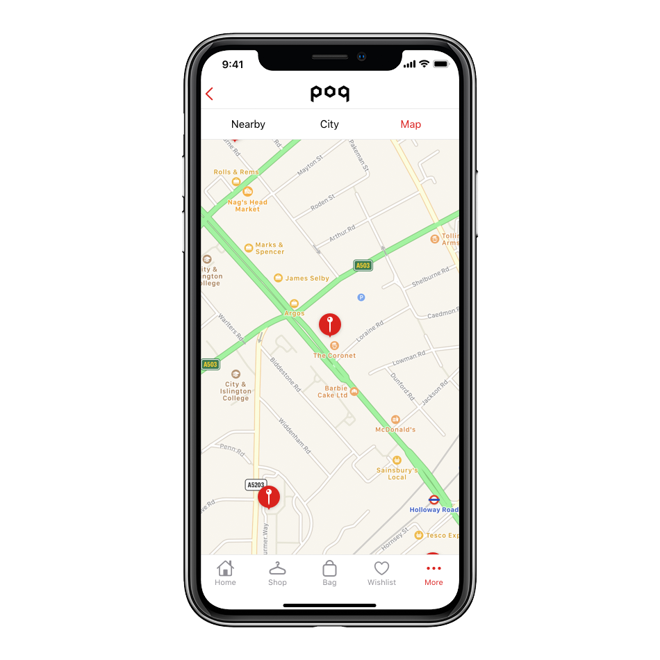 iPhone X screenshot of store finder functionality