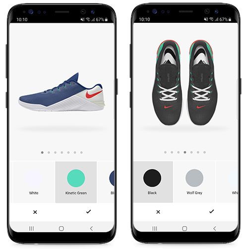 Screenshots of Nike By You customisable sneaker feature