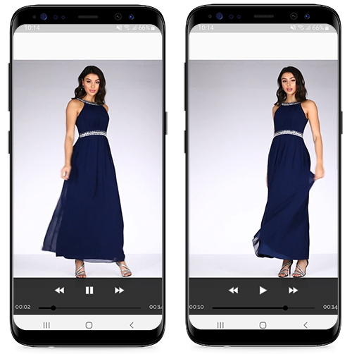 Screenshots of the Quiz Clothing app showing product videos