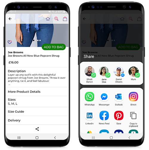 Screenshots of Social Sharing on Studio WOW app