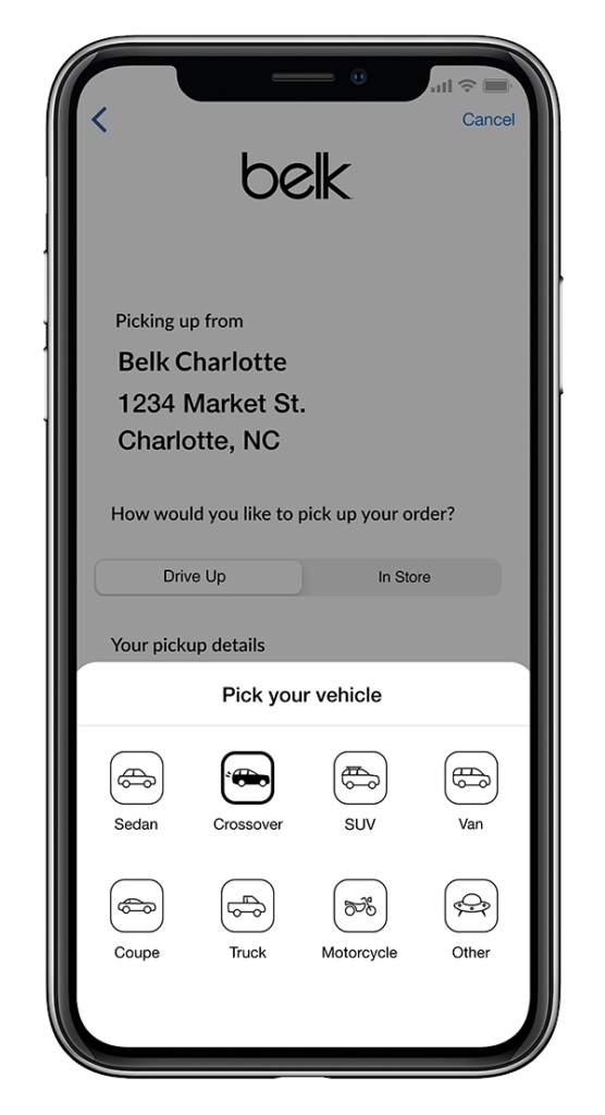 Example of Belk app curbside pick-up screen