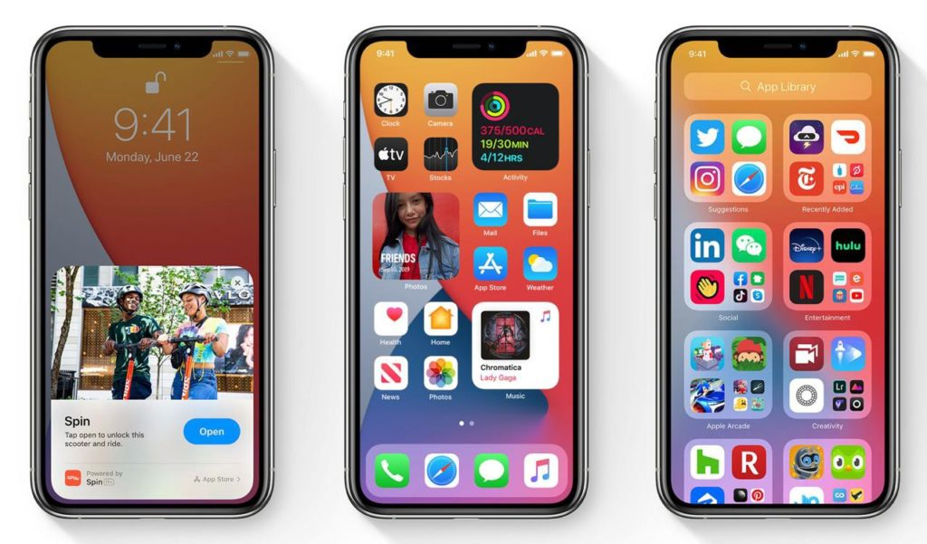 App screenshots. From left to right: App Clips, Widgets and App Library